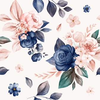 ネイビーとピーチの水彩バラと野生の花のアレンジメントのシームレス花柄