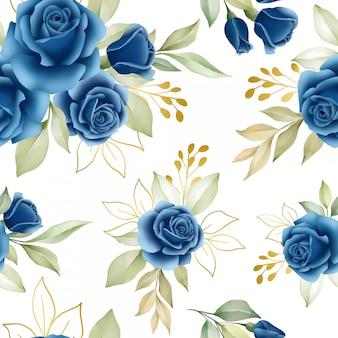 ネイビーブルーのバラの花のシームレスパターン