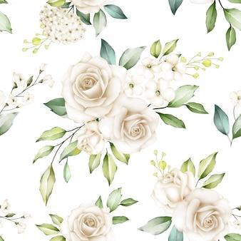 白いバラの花のシームレスなパターン