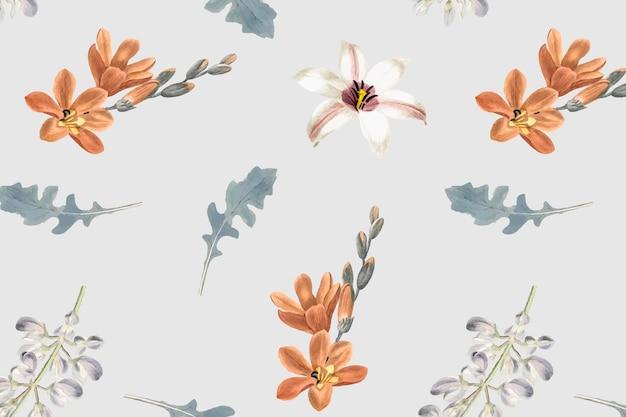 灰色の背景に花のシームレスなパターン