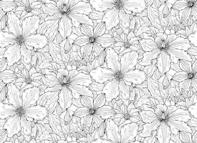 手描きのクレマチスの花でシームレスな花柄