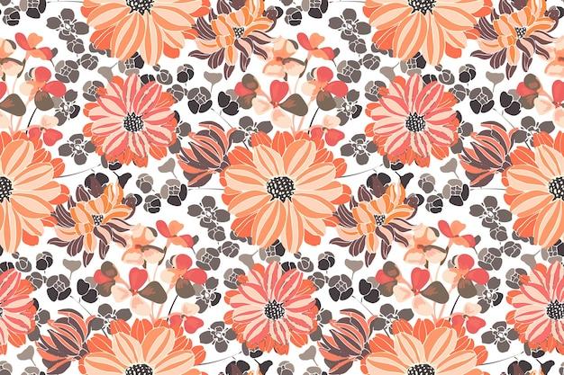 花のシームレスなパターン。ピンクとオレンジの庭の花。美しい菊