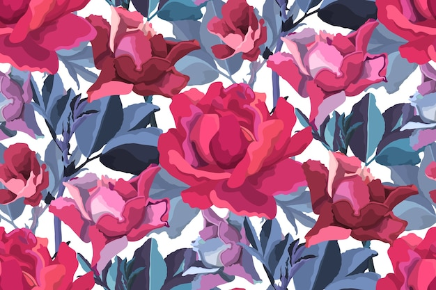 Floral seamless pattern. pink, burgundy, maroon, purple garden roses, blue branches with leaves isolated on white.