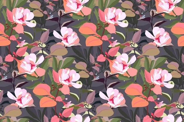 花のシームレスなパターン。灰色の背景に分離されたオレンジ、緑、灰色の葉を持つピンクの庭の花。ファブリック、壁紙デザイン、キッチンテキスタイル、バナー、カード用の美しい花。