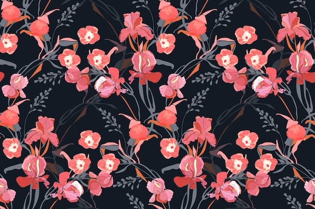 Floral seamless pattern. pink ipomoea, peony, iris flowers, grey branches, leaves isolated on a black background. tile pattern.