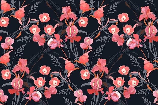 花のシームレスなパターン。ピンクのサツマイモ、牡丹、アイリスの花、灰色の枝、黒い背景で隔離の葉。タイルパターン。