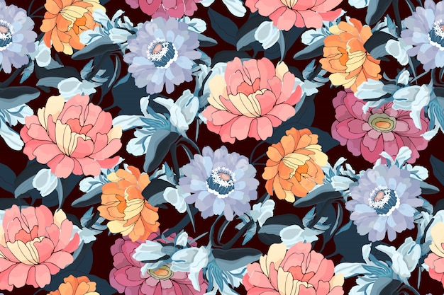 Floral seamless pattern. pink, orange, blue zinnias, peonies, navy blue leaves. garden flowers isolated