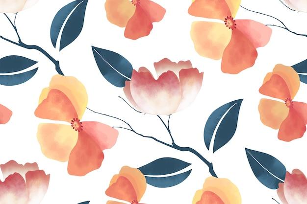 花のシームレスなパターン。ピンク、オレンジ色の花、青い枝、葉。白に花の要素。