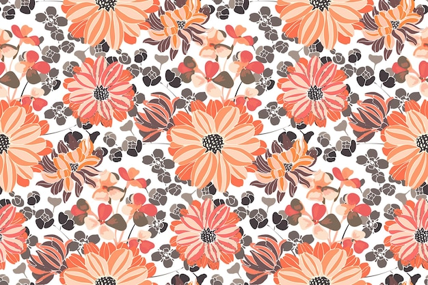 Floral seamless pattern. pink and orange garden flowers. beautiful chrysanthemums