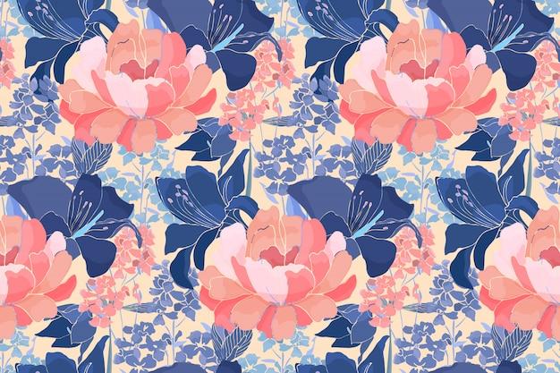 シームレスな花柄。ピンクの牡丹、青いユリの花、つぼみの背景に分離された芽。ホームテキスタイル、ファブリック、壁紙デザイン、アクセサリー、デジタルペーパー。