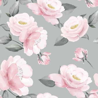 Floral seamless pattern pink rose bouquet watercolor greenery leaf art