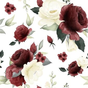 シームレスな花柄の赤と白のバラの花束水彩緑葉アート