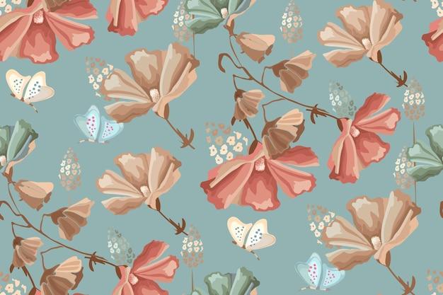 花のシームレスなパターン。汚れた青い背景に赤、ベージュ、青の花と蝶。レトロなスタイル。