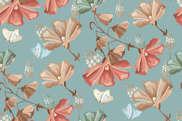 Floral seamless pattern. red, beige, blue flowers and butterflies on a dirty blue background. retro style.