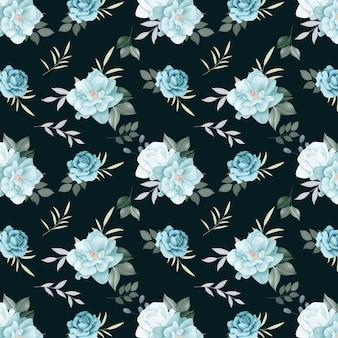 花のシームレスなパターンのバラと野生の花