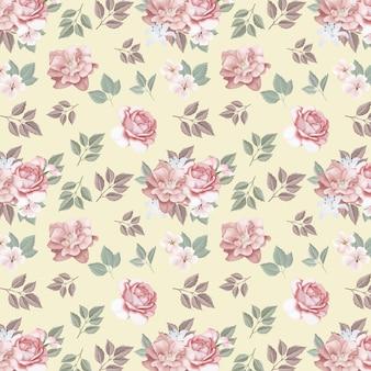 Цветочные бесшовные розы и полевые цветы