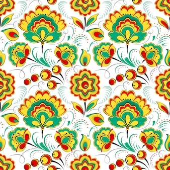 Floral seamless pattern in russian folk style
