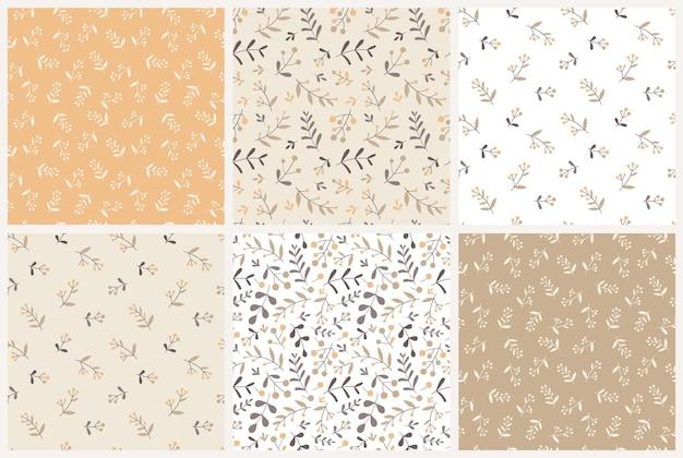 Набор цветочных бесшовные модели. флористические элементы в пастельной гамме. дизайн для ткани, текстиля, оберточной бумаги и т. д. плоский стиль. векторная иллюстрация.