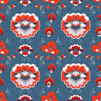 Floral seamless pattern in slavic style