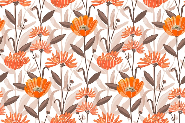 Floral seamless pattern. spring, summer flowers. orange calendula, marigold, gaillardia flowers, brown leaves. for decorative design of any surfaces.
