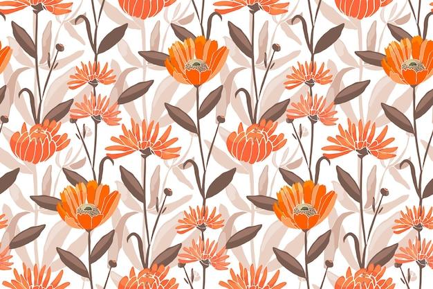 花のシームレスなパターン。春、夏の花。オレンジキンセンカ、マリーゴールド、テンニンギクの花、茶色の葉。あらゆる表面の装飾デザインに。
