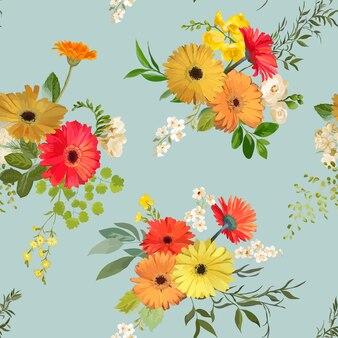 花のシームレスなパターン。夏と秋の花の背景。