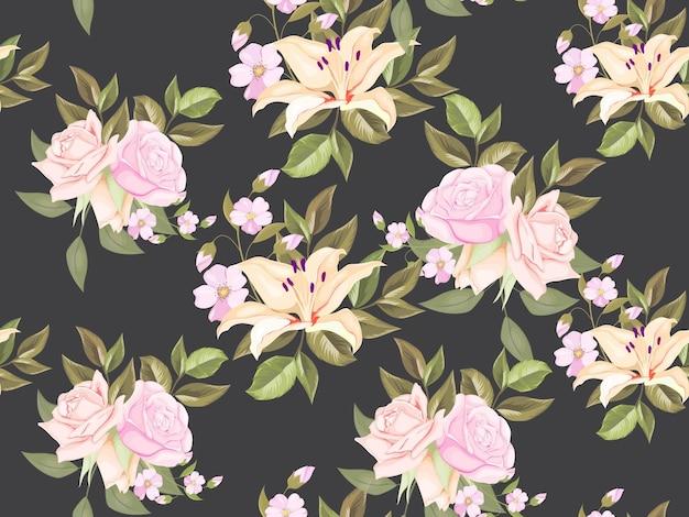 花のシームレスなパターンテンプレートデザイン
