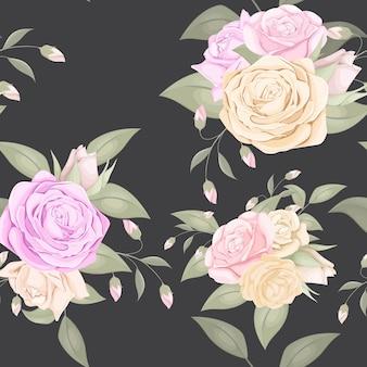 花のシームレスなパターンテンプレート