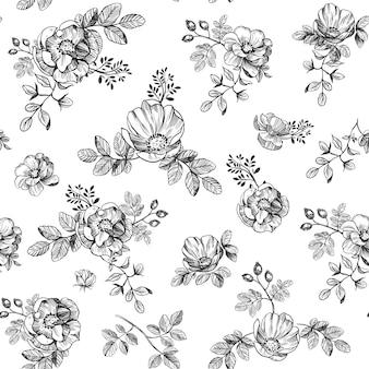 꽃 원활한 패턴 섬유 디자인 로즈 힙 벡터 일러스트 레이 션