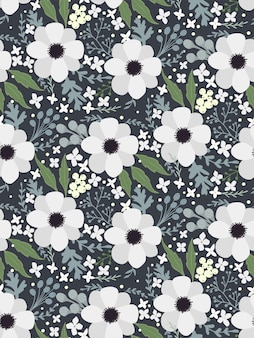 Floral seamless pattern texture hellebore anemone
