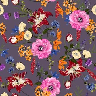花のシームレスなパターン。熱帯植物のモチーフ。手描きスタイル。