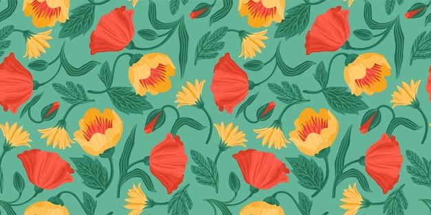 花のシームレスなパターン。紙、カバー、ファブリック、室内装飾、その他のユーザーのためのベクターデザイン