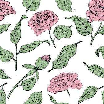 완벽 한 꽃 패턴입니다. 아름 다운 모란 꽃과 벡터 패턴입니다. 부드러운 번성