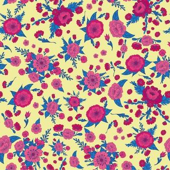 Цветочные бесшовные модели. винтажные цветы. векторная иллюстрация