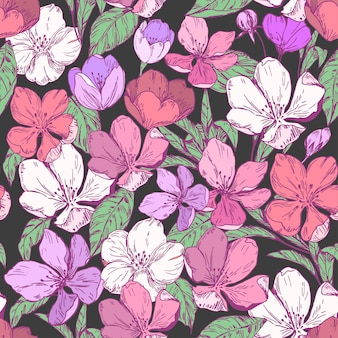Floral seamless pattern with apple blossoms.