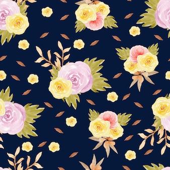 秋の花と花のシームレスなパターン