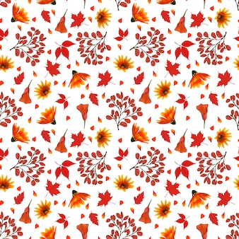 Floral seamless pattern with autumn flowers