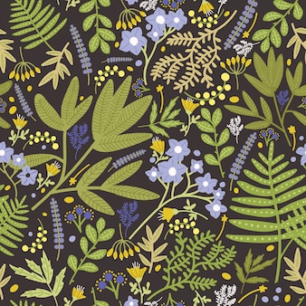 Floral seamless pattern with beautiful blue and yellow blooming flowers and leaves on black background.