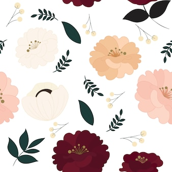 Floral seamless pattern with beautiful flowers.