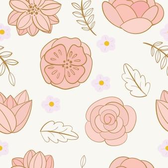 美しい花と花のシームレスなパターン。