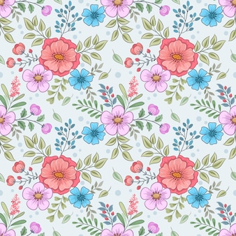 Floral seamless pattern with beautiful flowers