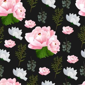 美しいピンクの牡丹とシームレスな花柄