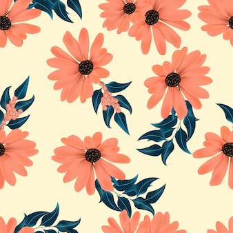Floral seamless pattern with berry