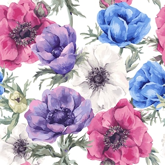Floral seamless pattern with blooming anemones