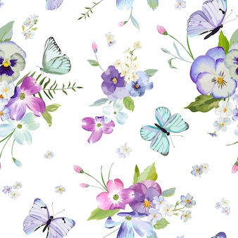 Floral seamless pattern with blooming flowers and flying butterflies