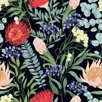 黒に咲く花と花のシームレスなパターン