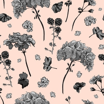 Floral seamless pattern with blooming geraniums