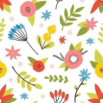 咲く牧草地の植物と花のシームレスなパターン。白い背景に花とベリーと自然な背景。