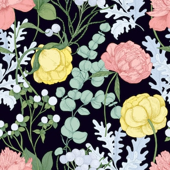Цветочный фон с цветущими пионами, лютик, эвкалипт гунний на черном