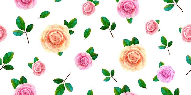 Цветочный фон с цветущими розовыми и желтыми розовыми цветами, зелеными листьями на белом фоне.